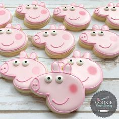 Peppa Pig cookies by Holli at The Cookie Confectionery in Temecula, CA Peppa Pig Cookie, Peppa Pig Birthday Cake, Peppa Pig Cupcake, 3rd Birthday, Peppa Pig Cakes, Birthday Ideas, Tortas Peppa Pig, Cumple Peppa Pig, Pig Cupcakes