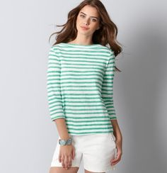 Petite Stripe Cotton A-Line Boatneck Top