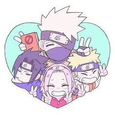 Team 7 Kakashi Hatake ,Naruto Uzumaki,Sakura Haruno , and Sasuke Uchiha Naruto Team 7, Naruto Kakashi, Anime Naruto, Naruto Chibi, Naruto Cute, Naruto Shippuden Anime, Boruto, Chibi Naruto Characters, Anime Chibi