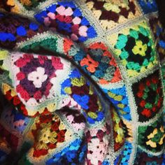 Colourful granny squares crochet blanket wool