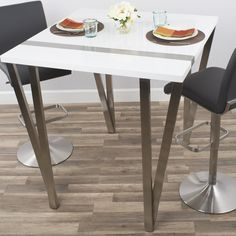 Eve High-Gloss Lacquer and Brushed Stainless Steel Pub Table & Logan Industrial Pub Table | Logan Industrial and Table pc