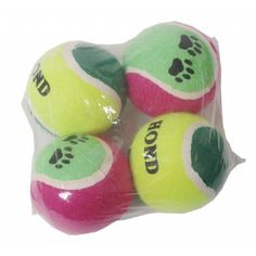 Tennisballen 4 stuks van stevige kwaliteit speciaal voor honden gemaakt.