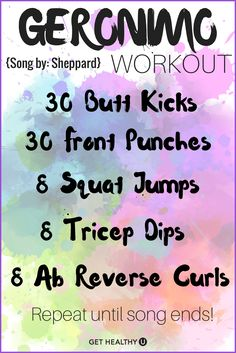 "Turn up the tunes and get sweating! This is a no-equipment one song workout done to Sheppard's ""Geronimo'"""
