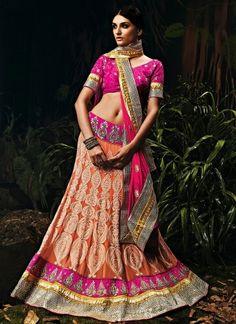 Charming Peach And Rani Color Designer Wedding Lehenga Choli