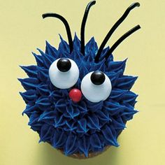 purple monster cupcake decoration how to