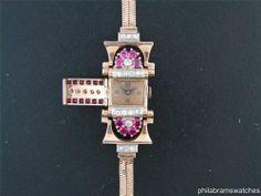 Pierce Vintage Ladies Art Deco Hidden Watch 14k Rose Gold Rubies & Diamonds #Pierce #LuxuryDressStyles