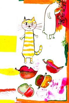 Cute Paintings, Animal Art, Illustration, Drawings, Cat Illustration, Painting, Artwork, Artsy, Cute Designs