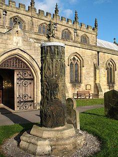 Anglo-Saxon cross shaft at Masham church, North Yorkshire.