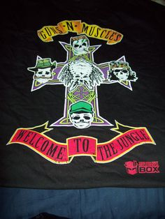"""Comic Con Box 2xl """"GNR"""" Spoof Guns and Muscles NEW T- Shirt"""