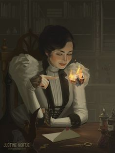 Victorian era when women was meant to have no education no rights she turned to magic and writing about fantasies in her head hair art Memories, Justine Nortje Character Concept, Character Art, Concept Art, Character Ideas, Fantasy Inspiration, Character Design Inspiration, Dnd Characters, Fantasy Characters, Arte Steampunk