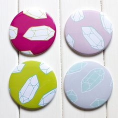 New 76mm pocket mirrors in the shop! Only on our new website for now and 20% off with the code EASTEREGG20 this is our brand new summer Quartz collection