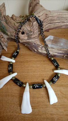 Buffalo Medicine: Prayer & Abundance. Buffalo tooth necklace with ceramic & metal beads on adjustable chain