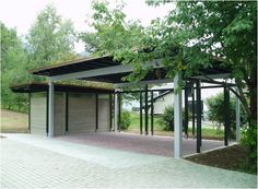 Carport with small storage shed. check the roof underneath Rustic Pergola, Metal Pergola, Pergola With Roof, Pergola Shade, Diy Pergola, Pergola Kits, White Pergola, Pergola Ideas, Carport Sheds
