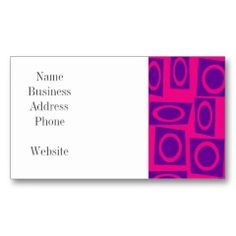 Hot Pink and Purple Fun Circle Square Pattern Business Card Templates | Pretty Business Cards