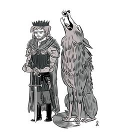 Another A Game of Thrones doodle. Rob Stark and Grey Wind, this time. King in the North!