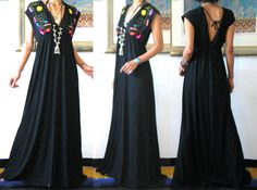 mexican dresses | main colors black with multi colors embroidery bust size upto