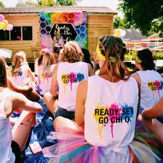 Chi Omega sorority go Greek recruitment bid day women college back to school Evansville color run event decor theme
