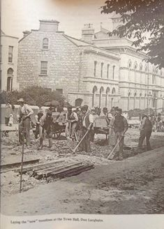 Marine road Dunlaoghaire Co Dublin Ireland. laying down the tram tracks. Vintage Pictures, Old Pictures, Old Photos, Ireland Pictures, Pub Interior, Michael Church, Al Capone, Photo Engraving, Dublin Ireland