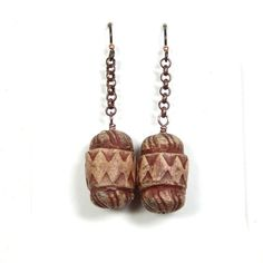 One of a Kind Ceramic Root Beer Keg Dangle Earrings with Hand Formed Stoneware Beads, Copper Chain and Hypo-Allergenic Niobium Ear Wires