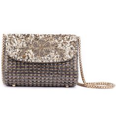 Ruche & Hues Metallic Bling Baguette Grey/Gold Bag (3,435 HKD) ❤ liked on Polyvore featuring bags, handbags, gray handbags, gold purse, grey handbags, sequin purse and gold metallic handbags