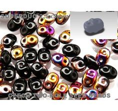 20gr Czech Two-Hole Seed Beads SuperDuo 2.5x5mm Jet Sliperit AB