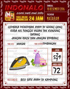 Undian Lotre 2D Togel Wap Online Live Draw 4D Indonalo Mataram 18 Desember 2016
