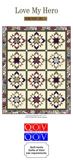 This Free Quilt Pattern using our Love My Hero fabri collection is gorgeous! The fabric is designed by Homefront Girl for Quilting Treasures. The quilt is designed by Wendy Sheppard. This quilt meets the Quilts of Valor size requirement!