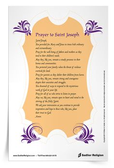 On March 19th, we celebrate the Feast Day of Saint Joseph. Download a Prayer to Saint Joseph to share with your family or class.