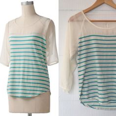 Lauren Conrad Chiffon Yoke Striped Top This NWOT Lauren Conrad top features a striped pattern, chiffon yoke, bow accents, raglan sleeves and a cotton blend. Your closet needs this! No trades or offline, bundle for a discount, reasonable offers considered. Lauren Conrad Tops Blouses
