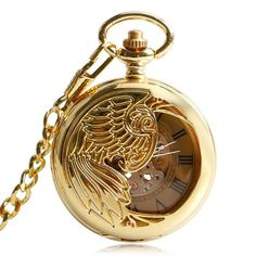 Vintage Phoenix Gold Roman Numerals Automatic Mechanical Pocket Watch Chain Gift