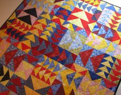 Popular items for red and yellow quilt on Etsy