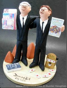 "Custom Made Gay Wedding Cake Topper No worries if you are searching for a caketopper for a gay wedding,civil union,civil partnership,same sex,rainbow,gender neutral,homosexual, or whatever other label that ""they"" want to stick on two men who are in love with each other, and want to wed.  $240 feel free to email us at magicmud@magicmud.com or just call 1 800 231 9814 to design your custom topper over the phone....great for anniversaries and birthdays as well #gay#homosexual##wedding#cake#topp..."