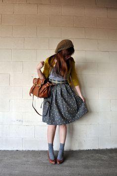 Plaid waistband (or obi sash/belt?) with polka-dotted skirt.