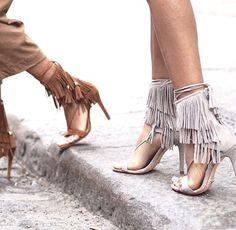 Fringe boho chic sandal heels