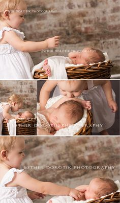 newborn photography, sister photography, 14 month old baby and newborn, sibling photography