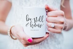 Be Still and Know Coffee Mug, Scripture Mug, Psalm 46:10, Mugs, Calligraphy Mug