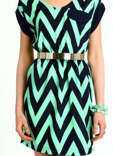 Mint Navy Capped Chevron Dress,  Dress, chevron dress, Chic