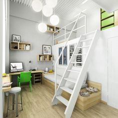 Office Room Design, White Round Pendant Lamps Green Armchair Wooden Desk Floating Bookshelf Staircase Sofa Flower Vase Stool Sleeping Bed Painting Wooden Floor And Gray Table Lamp ~ Wonderful Workspace Design Ideas for the Teenager Kids to Study