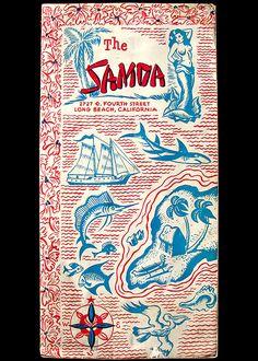 The Samoa, Long Beach--long gone (?) but amazing menu design