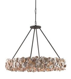 """Oyster Circle Chandelier, 38""""dia x 28""""h adjustable from 28-79""""h - Our bestselling Oyster Circle Chandelier is a bewitching sight, its robust ring of Natural oyster shells bursting with seaside colors and textures. Presented simply with a rustic Textured Bronze wrought iron frame, this chandelier is a bold centerpiece in any space."""