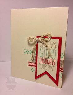 handmade card ... kraft with aqua and red ... asymmetrical layout ... layered fishtail banners as focal point ... like it! ... Stampin' Up!