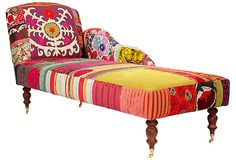"nuLoom collaborated with furniture design firm Bokja to create handcrafted chaise called ""Sophia Daybed"". Interior Flat, Interior Design, Interior Decorating, Funky Furniture, Furniture Design, Bohemian Furniture, Plywood Furniture, Bohemian Decor, Chair Design"
