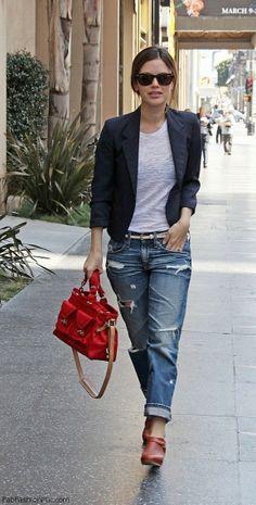 Rachel Bilson street style with boyfriend jeans
