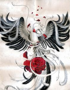 pheonix tattoo by bronis....everything about this except the rose....love it!!