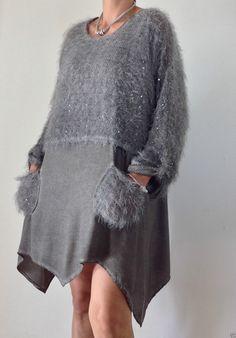 Neu Tunika Kleid Lagenlook Leinen Zipfel Flausch Pailletten Pulli Grau 38  40 42   eBay b6c32218ed