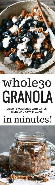 Really?! Pin now, check late. Whole30 and paleo cinnamon date granola. Made with toasty coconut, almond, nutty infusions, date pieces, and cinnamon spice.