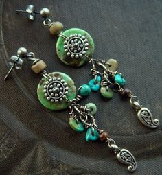 Turquoise and Sterling Silver Dangle Earrings via Etsy