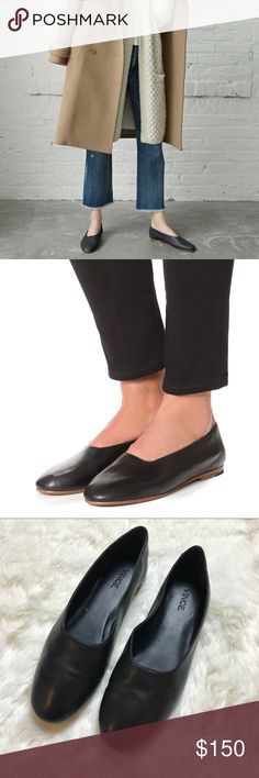 Vince Black Leather Ballet Flats •Soft Italian leather ballet flat with a modern, choked up silhouette and rounded toe.  •Size 7.5, true to size.  •Display shoe, like new condition.  •No trades, no holds. Vince Shoes Flats & Loafers