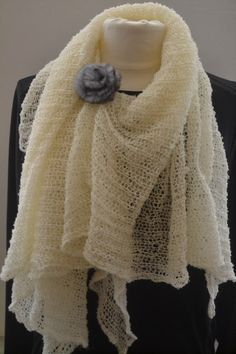 $24***Handmade Large Off-White Shall With a Fur Flower Pin***Pin comes in two colors - blue and brown - please indicate the color you'd prefer in your order.***Large but lightweight and airy***Measures 52'' by 52''***For more unique items please visit: http://www.etsy.com/shop/TsEclecticCorner