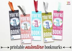 Valentine Bookmark for the Book lover and 28 Printable Valentines for the Kids - fun printables for homemade valentines on Frugal Coupon Living.